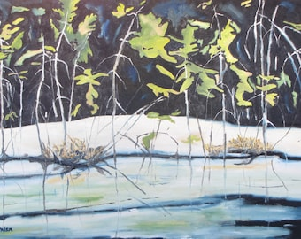 "Large Landscape Oil Painting Original Impressionist Winter Snow White Wetland Pond Lake Ice Quebec Canada Fournier "" Frozen Marsh "" 24 x 36"