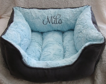 "One Piece  20"" x 24"" Dog Bed - Cat Bed  - Hide Soft Minky Cuddle and Micro Suede - Personalization included"