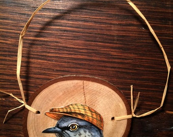 Mockingbird in a Hat ~ Birds in Hats Wood Disk Ornaments
