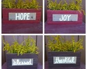Giveaway Saturday. 1 Dollar listing. Free Shipping. Wood box centerpiece.  Joy hope thankful blessed sign. Table boxes. Wooded rustic box