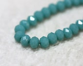 25 pcs. 4x3mm. Turquoise Blue Faceted Rondelle Chinese Glass Crystal