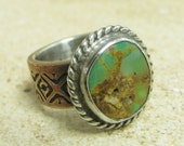 Size 8.5 Royston Turquoise Ring, Mixed Metal Fine Silver And Copper Ring, Rustic Ring Metalsmith Jewelry, One Of A Kind Ring, Statement Ring