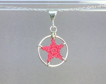 Stars, pink cotton necklace, sterling silver