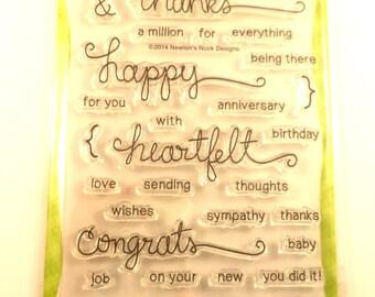 Newton's Nook Designs Clear Stamp Set, Simply Sentimental, Thanks, Congrats, Heartfelt, Anniversary, Birthday, Wedding, Graduation