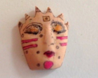 1 clay face jewelry craft supplies  handmade cabochon    polymer clay  findings    girl red stripes wink