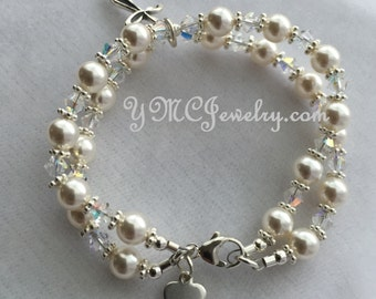 Confirmation -  Double Strand Swarovski Crystal Pearl and Sterling Silver Heart Initial Children Rosary Bracelet - First Communion Bracele