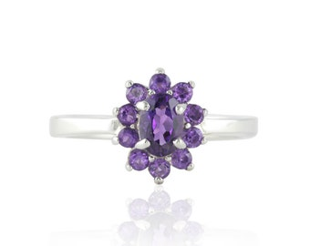 Amethyst Ring - Flower Ring with Oval cut Brazilian Amethyst and Plain White Gold Shank - February Birthstone Ring - LS4722