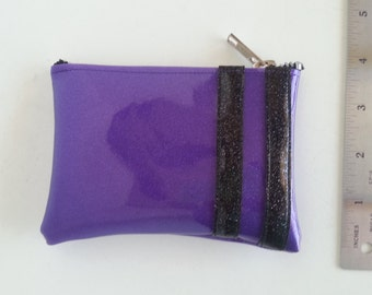 Coin purse purple metalflake vinyl with black stripes