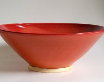 Large Paprika Serving Bowl - Burnt Orange - Red - Wheel Thrown Pottery
