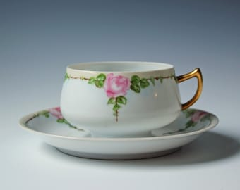 Dainty pink rose hand painted floral cup & saucer eggshell porcelain fine China signed 1953 / gift for mom