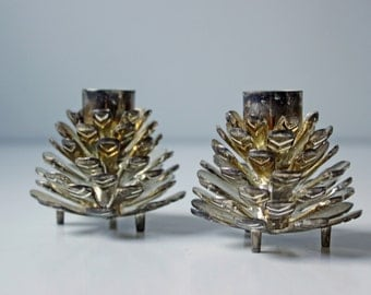 pair of metal pine cone candle holders / silver pine cones candle stand / holiday center piece table top