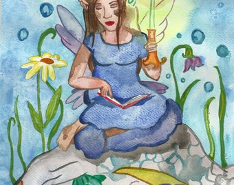 Fairy and a Dragon Original Watercolor Painting Fairy Tale Illustration Reading Art for Kids Fantasy Art Blue Painting by Niina Niskanen