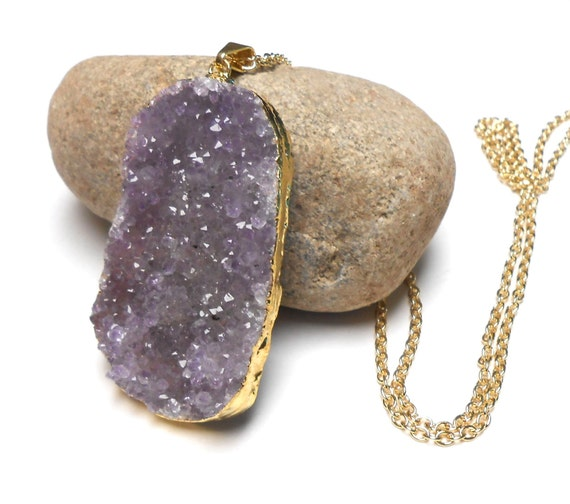 Large Druzy Pendant Necklace, Long Gold Necklace, Raw Crystal Necklace, Boho Jewelry