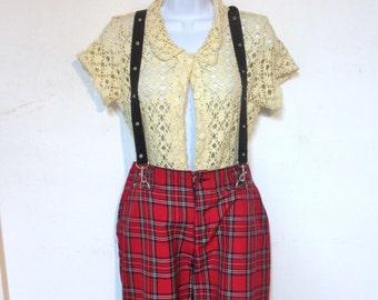 Punk Pants Plaid Pants with Braces Womens Capri length 36 Waist Size 13