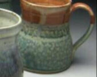 Assorted Stoneware Coffee Mug - Wide Bottom Design - Aqua & Copper tone glazes