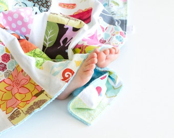 Baby Girl Scrappy Patchwork Snuggle Blanket with Light Turquoise Minky