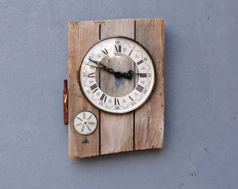 Steampunk Clock Boatwood and Vintage clock parts