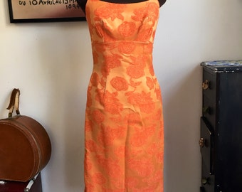Vintage Wiggle Dress Tonal Orange Floral Jacquard Print
