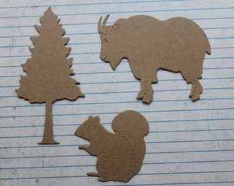 6 Bare Chipboard Goat, Tree, Squirrel Die cuts 2 of each style