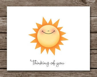 PRINTABLE Sun Note Cards, , Sun Notecards, Sun Cards, Sun Stationery, Sunshine Cards, Personalized Note Cards
