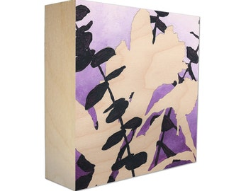 Limited Edition Botanical Print on Birch Wood Panel, Sustainable and Archival, Nature Plant Silhouette - Free Shipping - Violet Bouquet