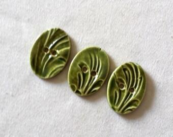 Green Flourishes - Three (3) Handmade Buttons
