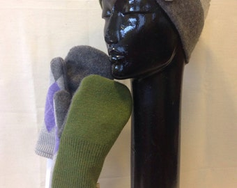 Recycled wool blend mittens and hat