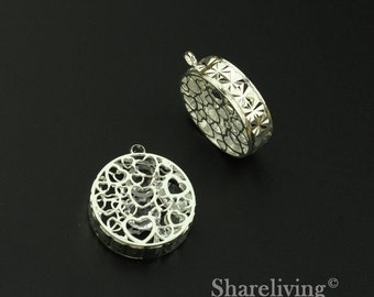 2pcs 3D Filigree Heart Case Charm / Pendant with Crystal inside , High Quality Shiny Shiny Silver - RZD204A