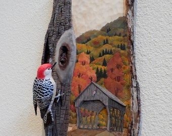 Detailed Woodcarved Red-bellied Woodpecker on Relief Carved wall mount.