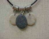 Beachstone triple necklace, hand picked stones from Lake Michigan