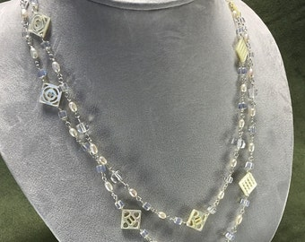 Carved Mother of Pearl and Freshwater Pearl Necklace
