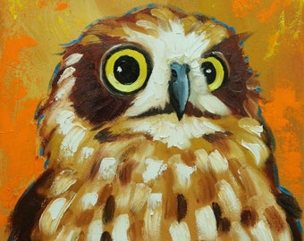 Owl painting 121 12x12 inch original oil painting by Roz