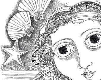 Coloring Page Hand Drawn Whimsical Venus