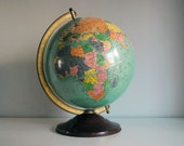 1940s Replogle Globe 12 inch Vintage Reference Earth Geography School Educational Toy Mid Century Office Decor World Map Desk Globe