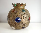 Vintage Moroccan Jeweled Brass Lamp Globe Pierced Brass Open Work Moorish Lighting Boho Home Decor Lamp Shade Hollywood Regency Chandelier