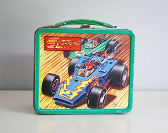 1970 Lunch Box, Johnny Lightning, Aladdin / Topper Metal Storage Container, JL Model Cars, Retro Home Decor, Embossed Steel Box, Boy Toys