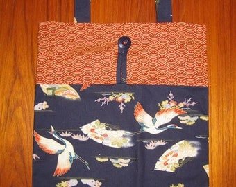 Tuck and Roll Fold-Up Portable Shopping Tote Japanese Cranes Design Navy
