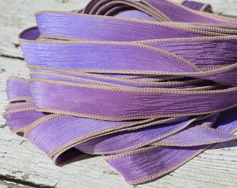 Hand Dyed Silk Ribbons, LAVENDER FIELDS, Qty 5 Crinkle Silk Ribbons, 5 Strings Purple Lavender Lilac, Silk Wraps  for Jewelry