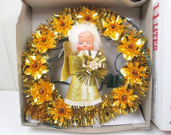 """Vintage Lighted Angel Christmas Tree Topper 8"""" Electric Creative Crafts Taiwan"""