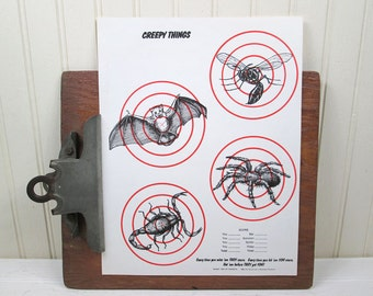 "Vintage Paper Shooting Target Creepy Things 8.5"" x 11"" Spider Bat Insect Illustration"