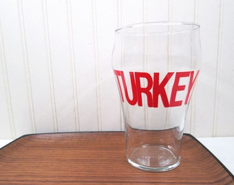 Vintage Drinking Glass Turkey Typographic Retro 70's Extra Large