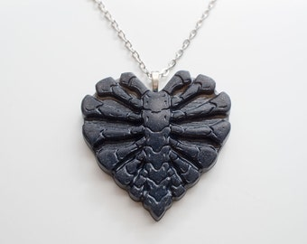 Navy Blue and Glitter Skeleton Rib Cage Heart Necklace - Resin Charm Pendant on Silver Chain