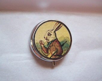 Alice in Wonderland pill case retro white rabbit vintage Victorian fantasy pillbox