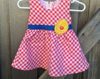 Red Gingham Dress 9-12 Months