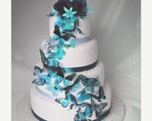 NEW YEAR SALE 20 pack of Aqua Butterflies great for Cake Toppers