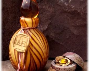 Sacred Amber Infused Oil in Glass Perfume Vessel, Amber Oil, Beautiful Perfume Bottle