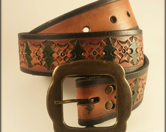Hand Tooled Leather Belt Size 32