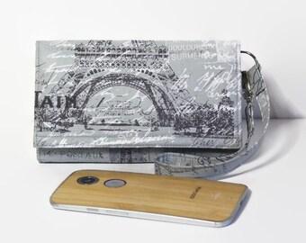 Smartphone Wallet Wristlet, Removable Strap, Fits Most Cell Phones, iPhone 6s Plus Wristlet, Samsung Galaxy, Lg, Nexus / Travel Paris Gray