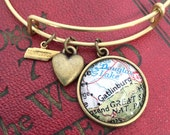 Gatlinburg Map Charm Bracelet - Smoky Mountains Tennessee - Pigeon Forge - National Park - Wanderlust - Travel