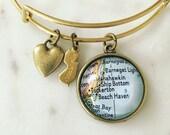 Long Beach Island Map Charm Bangle Bracelet - Personalized Map Jewelry - Bangle - Jersey Shore - Barnegat Light - Ship Bottom - Beach Haven